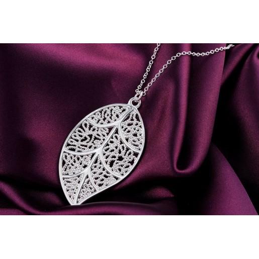 "Jewel set ""Life Leaf"" 925 silver plated"