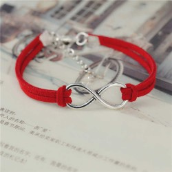 Bracelet de l'infini en croûte de cuir rouge