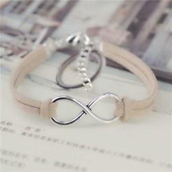 Infinity Beige leather bracelet