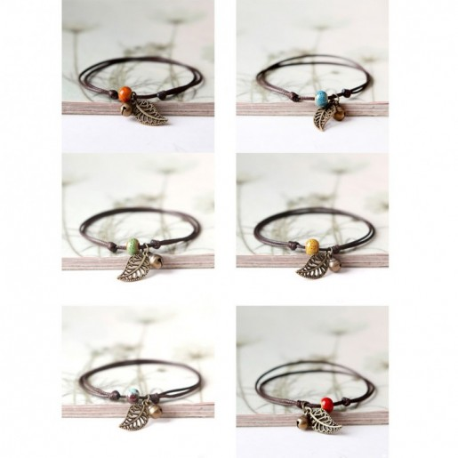 Adjustable bracelet in rope and ceramic bead