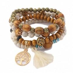 Bracelet en perle de bois élastique - 5 couleurs au choix