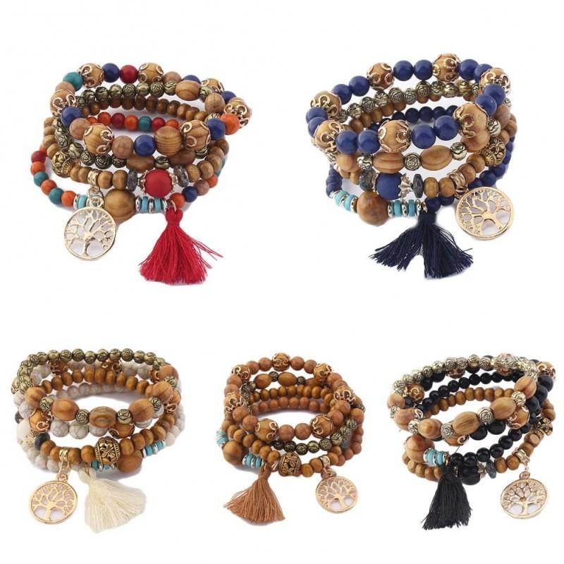 Elastic wood bead bracelet - 5 colors choice